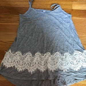 Tops - Gray and white lace top